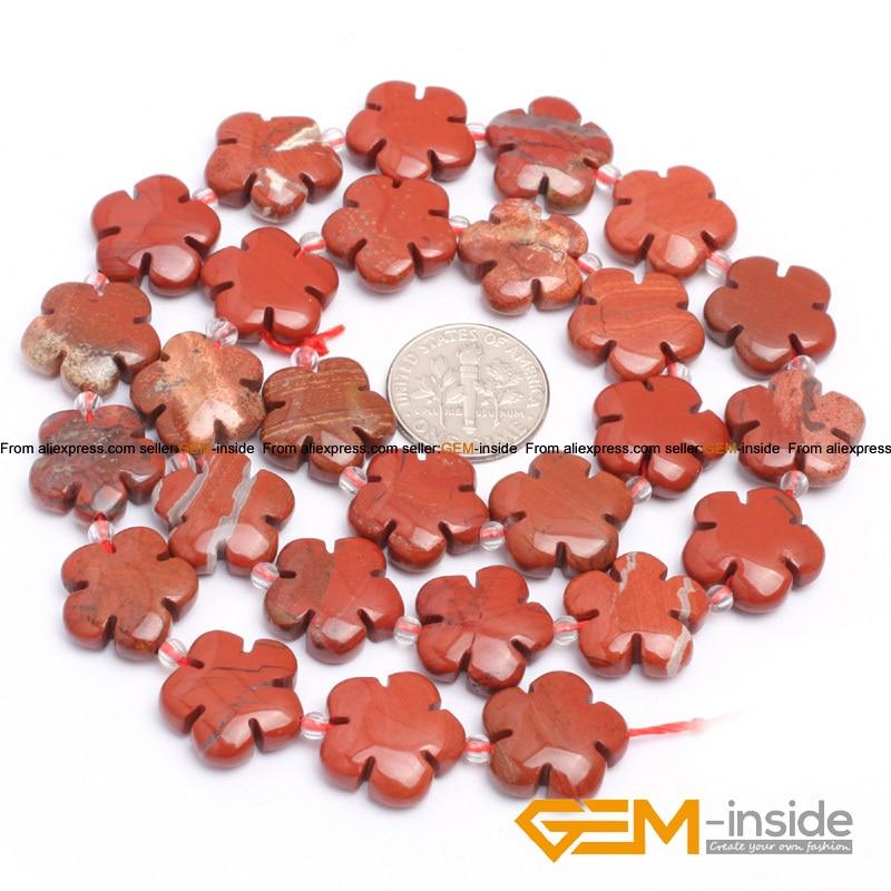 Jaspe r 15mm Flower Shape Red Jaspe r Beads Natural Red Jaspe r Stone DIY Loose