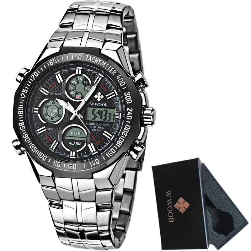 2017 Digital Watch Men Luxury Brand WWOOR Men s Watches Quartz LED Dual Display Military Watch