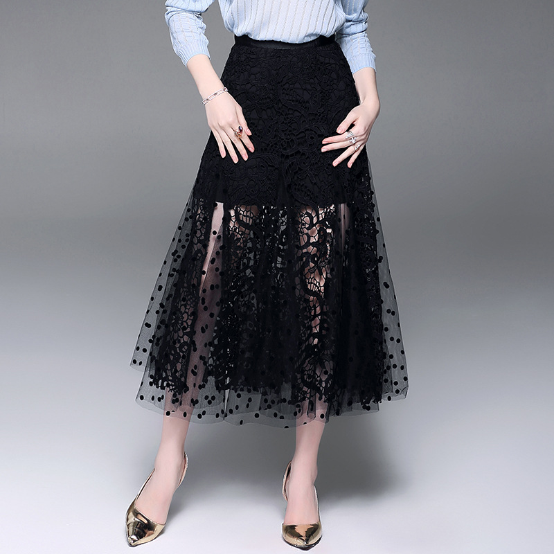 Lace Skirts Women Black Hollow Out Elegant Design Dot Mesh Patchwork A line High Quality Skirt Autumn 2018 New Fashion Style