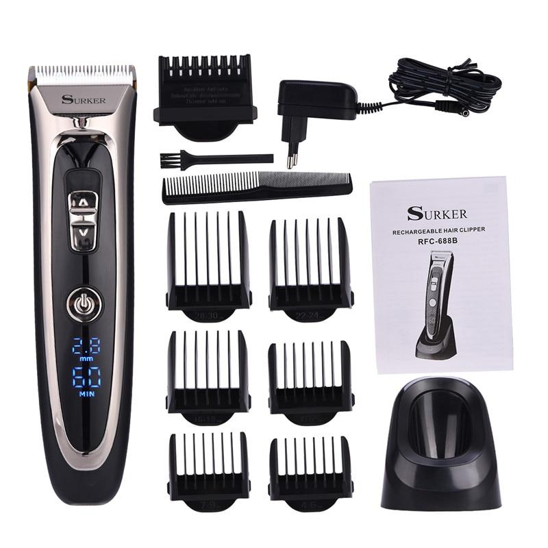 все цены на 100-240V Professional Digital Hair Trimmer Rechargeable Electric Hair Clipper Men's Cordless Haircut Adjustable Ceramic Blade онлайн