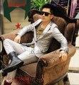 Productos alta calidad calientes bar discoteca hombres de moda cantante DJ etapa 3 d efecto trajes de hombre ( coat + pants ) custom / S-XL