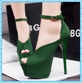 Mujeres zapatos de fiesta de verano zapatos de boda mujer bombas peep toe tacones altos sandalias 2015 para mujer zapato con cierre para zapatos de tacón D12