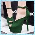 Mulheres sapatos de verão mulher bombas peep toe de salto alto sandálias cinta senhoras tornozelo sandálias mulheres D12