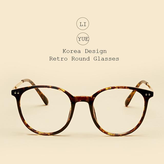 LIYUE Moda quadro Feminino óculos Frames eyewear vidros ópticos das mulheres Clássico Rodada pés de metal Retro óculos de lente Clara