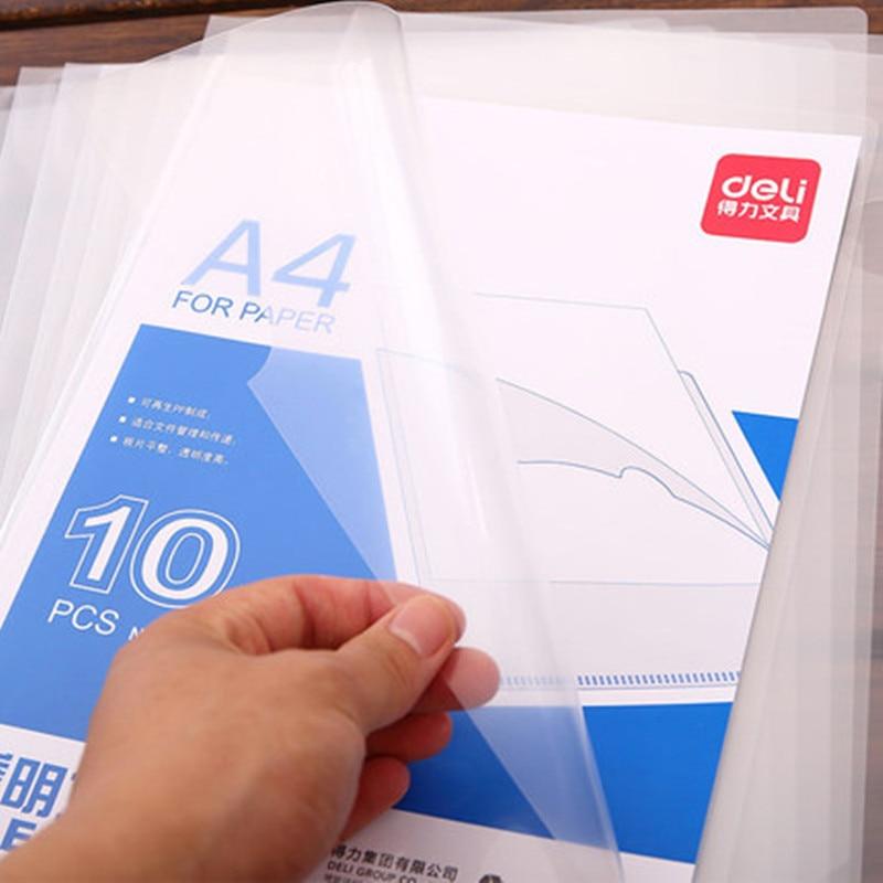 10pcs/lot L Shaped File Cover File Folder A4 Transparent Presentation Folder For Documents Business Bag Supplies