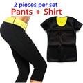 T-shirt + Pants/2016 Caliente Nueva Talladora Neopreno Mujeres Camisetas Bragas de Control de la Sudoración de La Talladora Tops Elástico Traje de Adelgazamiento