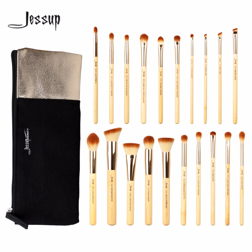 Jessup 20pcs Beauty Bamboo Professional Makeup Brushes Set T145 & Cosmetics Bags CB002 top quality 20pcs bamboo makeup brushes