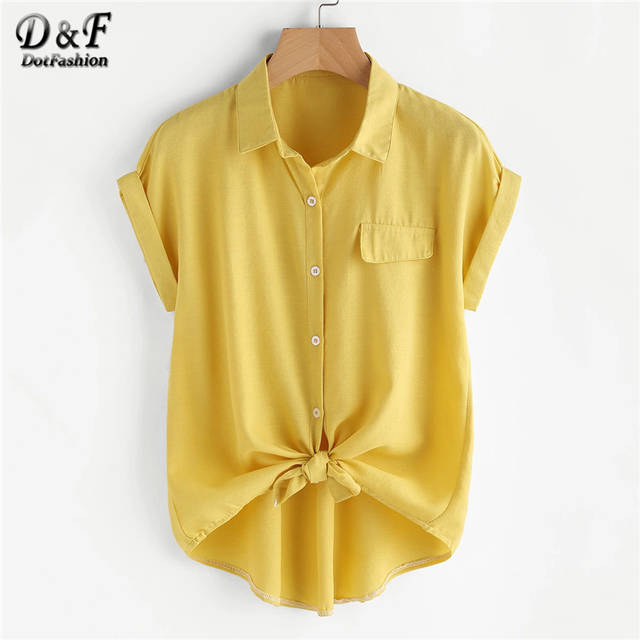 f563a5cb50b Online Shop Dotfashion Rolled Cuff Button Knotted Hem Shirt Womens Tops And Blouses  Summer Tops For Ladies 2019 Casual Short Sleeve Blouse