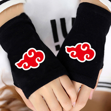 Anime Naruto Red Cloud Half Finger Cotton Knitting Gloves Accessories Without Fingers Mitten Lovers Cosplay Warm Gifts