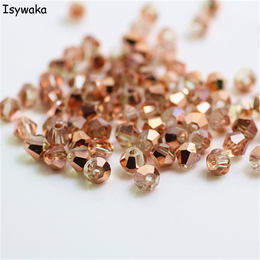Isywaka Sale Red copper Color 100pcs 4mm Bicone Austria Crystal Beads charm Glass Bead