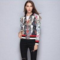 Runway Design Jackets Women 2017 Autumn Cartoon Tigers Print Sequined Coats Women Casual Outerwear Streetwear Jackets