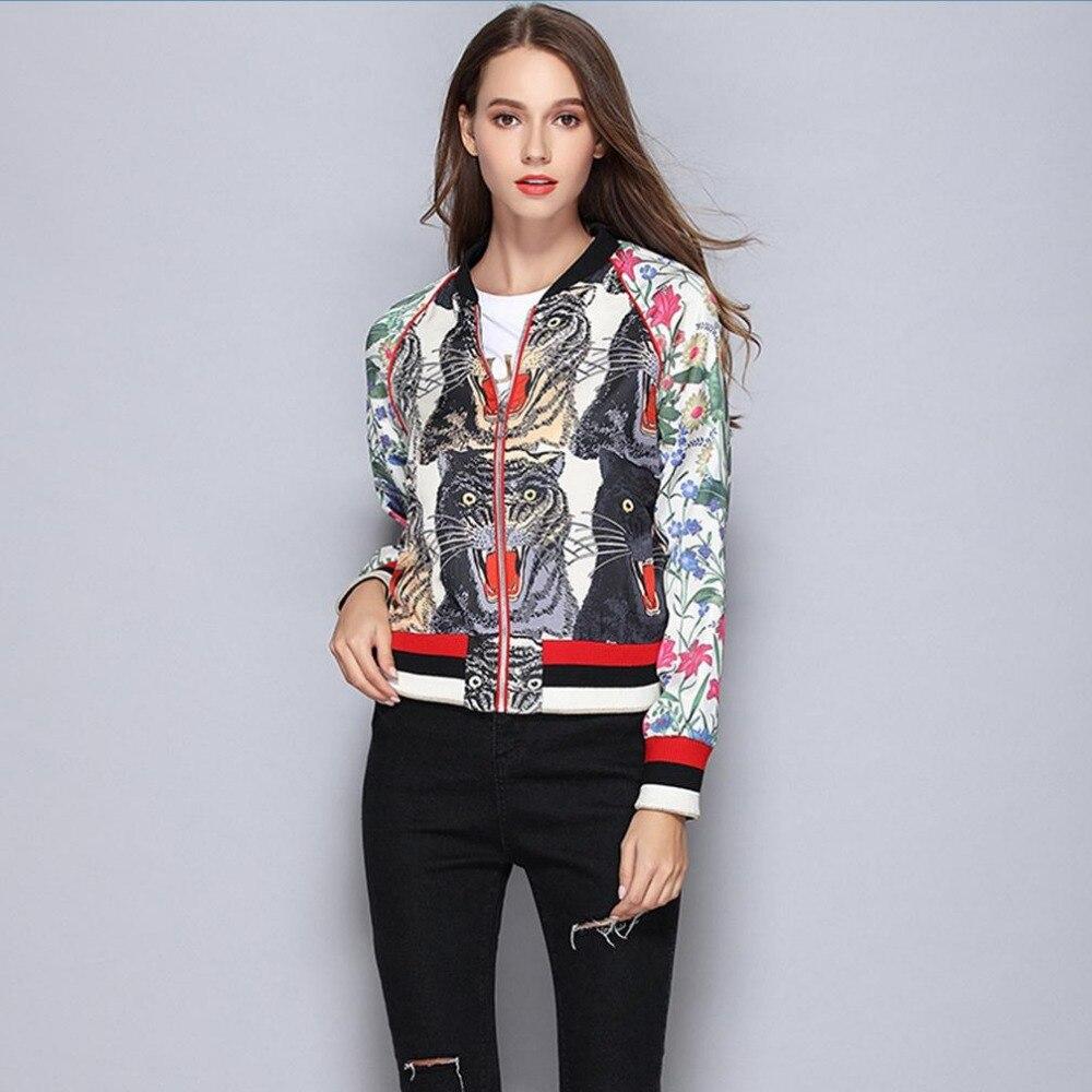 Runway Design Jackets Women 2019 Autumn Cartoon Tigers Print Sequined Coats Women Casual Outerwear Streetwear Jackets