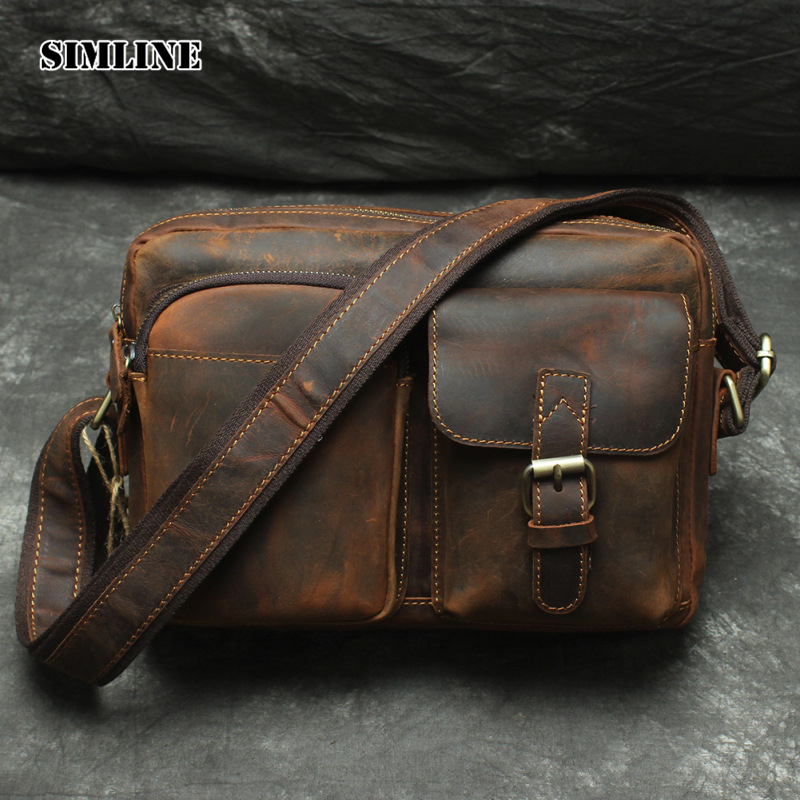 SIMLINE 2017 Vintage Genuine Crazy Horse Leather Cowhide Men Men's Messenger Bag Small Shoulder Crossbody Bags Handbags For Man simline 2017 vintage genuine crazy horse leather cowhide men men s messenger bag small shoulder crossbody bags handbags for man