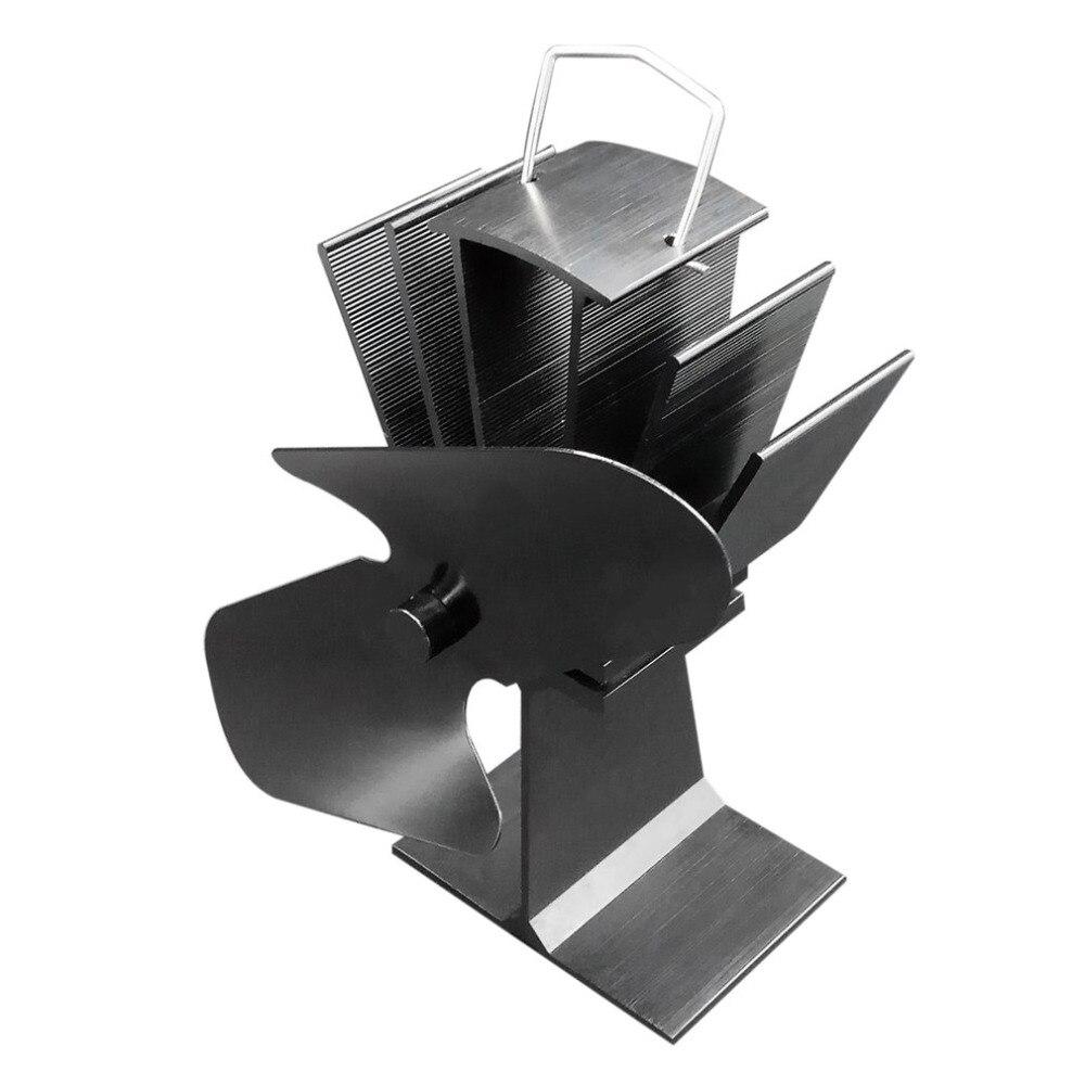 Прочный 2 лезвия Алюминий черный тепла питание вентилятор печки экономию топлива Экологичные древесины конфорки вентилятор