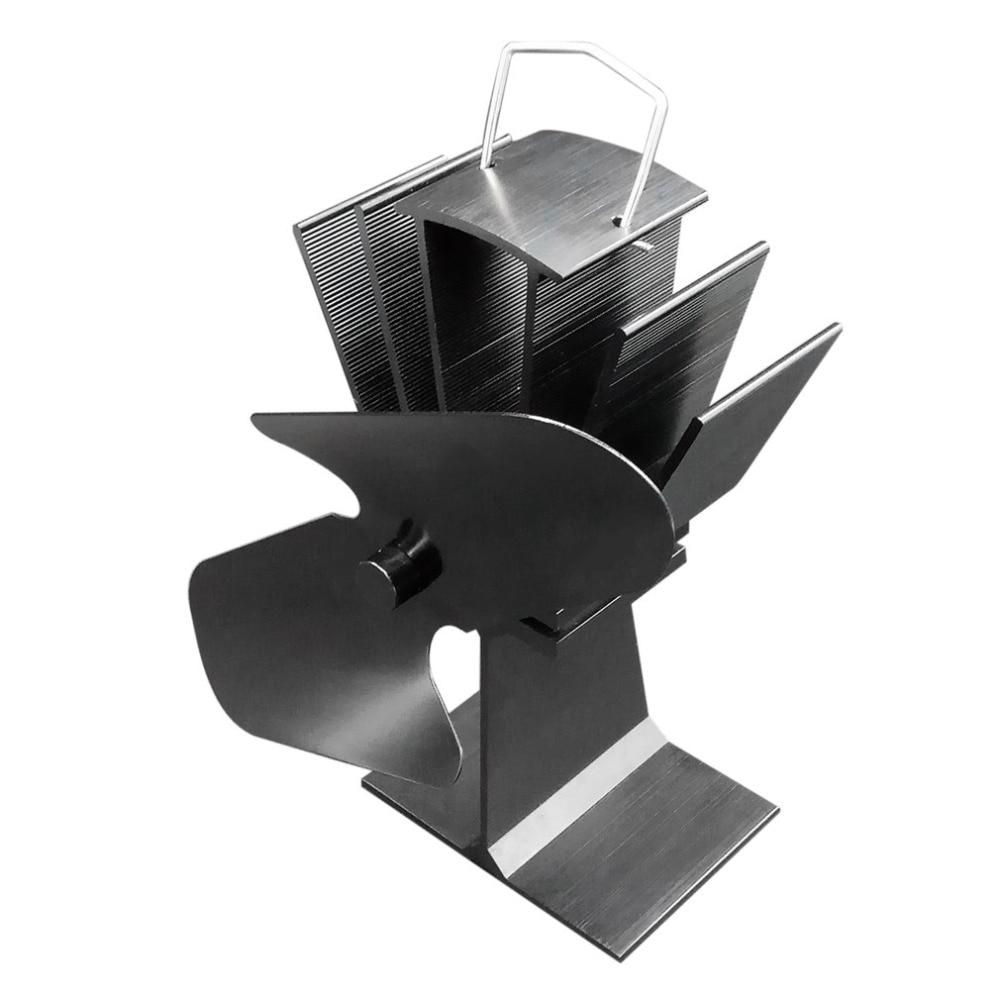 Durable 2 Blades Aluminum Black Heat Powered Stove s