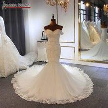 الفاخرة فستان الزفاف حورية البحر الكامل الديكور مع انفصال الأشرطة