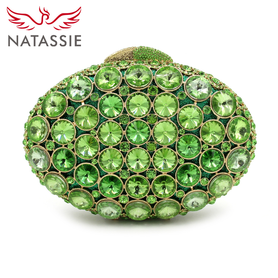 NATASSIE 2017 New Women Green Party Bags Ladies Evening Crystal Bag Female Clutch Purses natassie new design luxury crystal clutch women evening bag gold red ladies wedding banquet party purses good quality