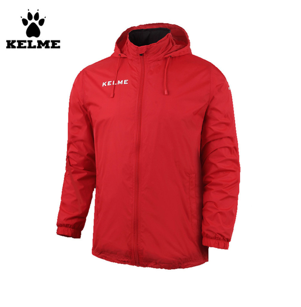 ФОТО Kelme Children Stand Collar Waterproof Raincoats Hooded Jacket K15S606 Red