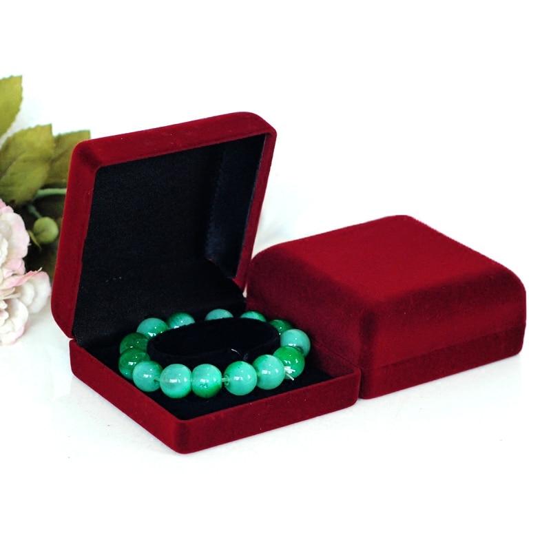 High Quality 10pcs Dark red Color Square shape Velvet Jewelry box widget box bracelet box for Large Jewelry