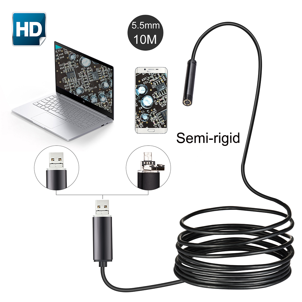 Black Hard Cable Android Endoscope Camera USB Camera 10m Semi-Rigid Android PC Boroscope USB Inspection Camera IP67 Waterproof