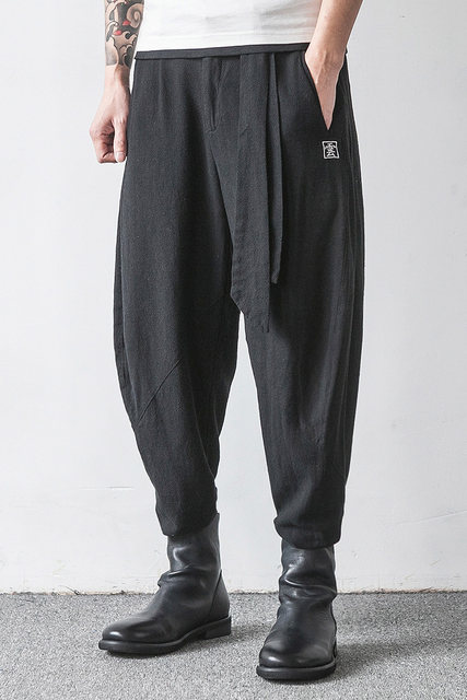 Men Trousers Japanese Samurai Style Boho Casual Low Drop Crotch Loose Fit Harem Baggy Hakama Capri Linen Pants