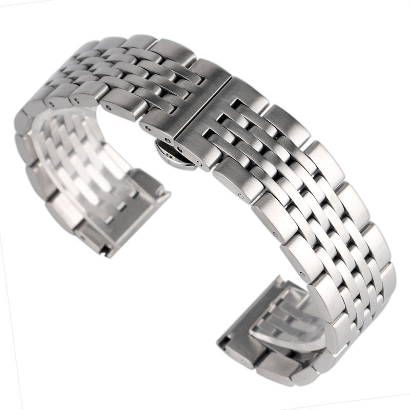 high quality 20 22mm silver black bracelet men women watch band strap cool replacement solid link stainless steel watchstrap Stainless Steel  High Quality Silver Watch Band Strap Adjustable  Watchband 20/22/24mm Solid Link Women Men + 2 Spring Bars