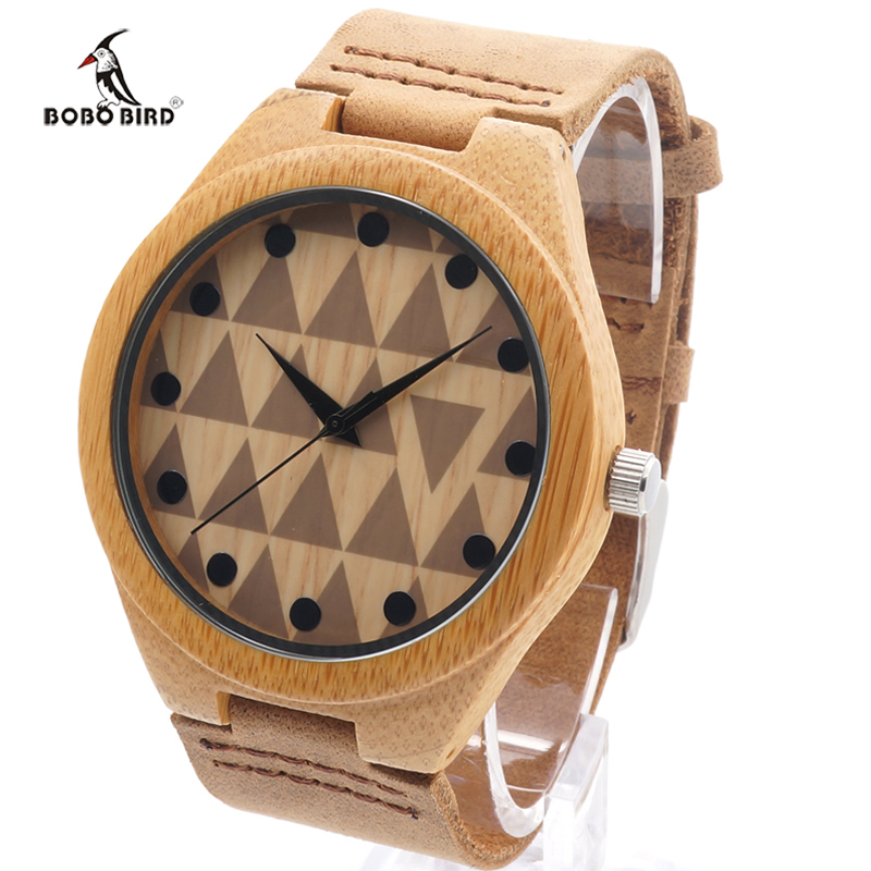 2017 BOBO BIRD Brand Bamboo Watches for Men and Women With Genuine Cowhide Leather Band Wood Watch relogio masculino