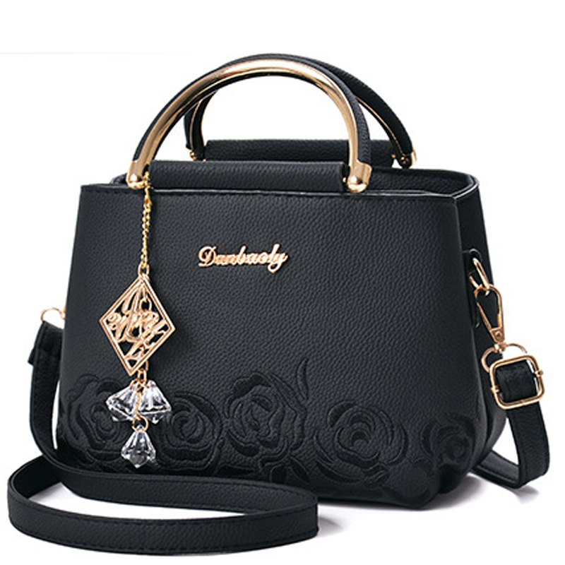 Women Bag Women Leather Handbag Shoulder Bag Crossbody Handbag Women's Flower Embroideried Pendant Rivets Boston Ladies Fashion