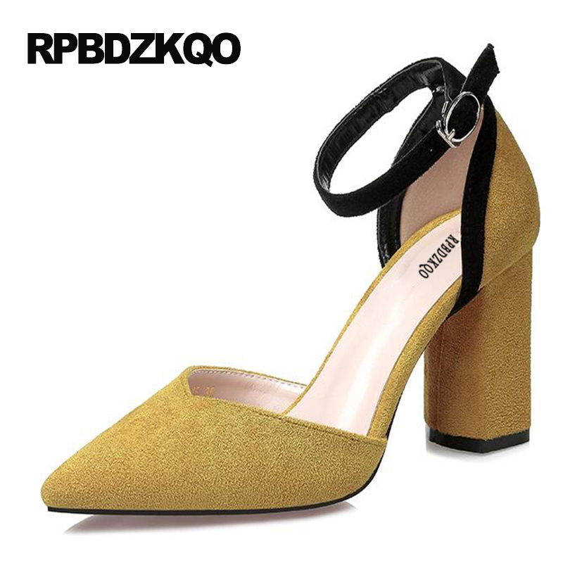 Pointed Toe Suede Pumps Yellow High Heels Classic Thick Prom Dress Shoes Women 2017 Ankle Strap Small Size 4 34 Sandals Adult wetkiss 2017 brand women pumps kid suede genuine leather summer pumps for women fashion pointed toe ankle strap high heels shoes