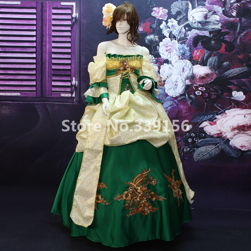 Customized Green/Red Printed Off the Shoulder Marie Antoinette Dress 17th 18th Century Renaissance Medieval Rococo Party Dress