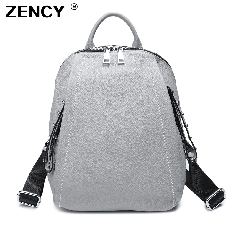 ZENCY Nature 100% Genuine Cow Leather Women Design Shopping Backpack Lady Girl Real Top Layer Cowhide Book Bag Style Knapsack