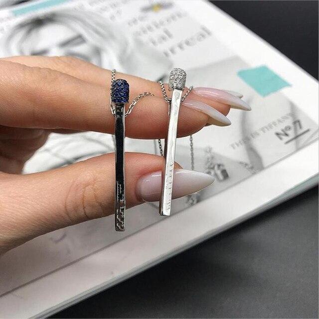 Хит 2020 новинка ожерелье от итальянского дизайнера Брендовая подвеска спички из 925 пробы серебра для женщин и девушек