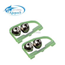 5pcs Outdoor LED Light Night Twin Rod Bells Ring Tip font b Fishing b font Bait