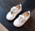 Girls shoes mary jane flor blanca rosa negro para 2-6 años niños pu primer caminante shoes princesa shoes flower girls shoes boda