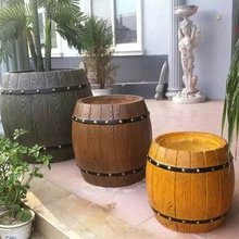 50cm (19.68in) GRC Durable Home Gardening Bottom Casting Bonsai DIY Round Syntactic Wood Beer Barral Concrete Flower Pot Mold