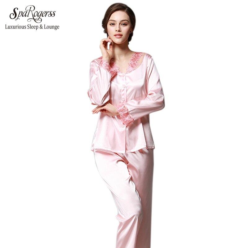 SpaRogerss Luxurious Women Pajama Set 2017 Faux Silk Lace Ladies ... be30200aa