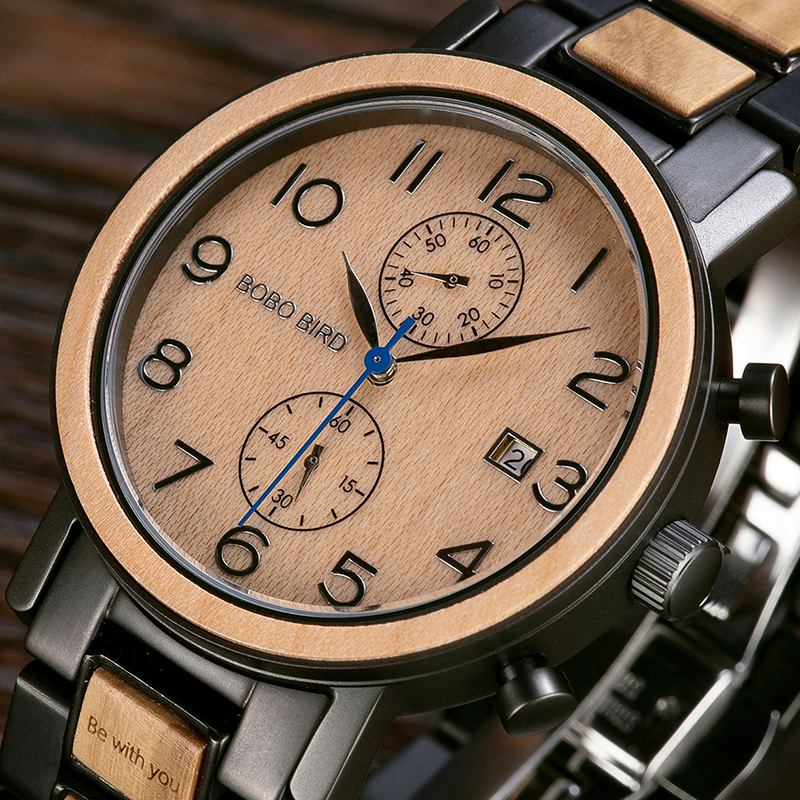 BOBO BIRD Personalized Men Watch Chronograph Stainless Steel Luxury Watches Best Gift for Him montre homme