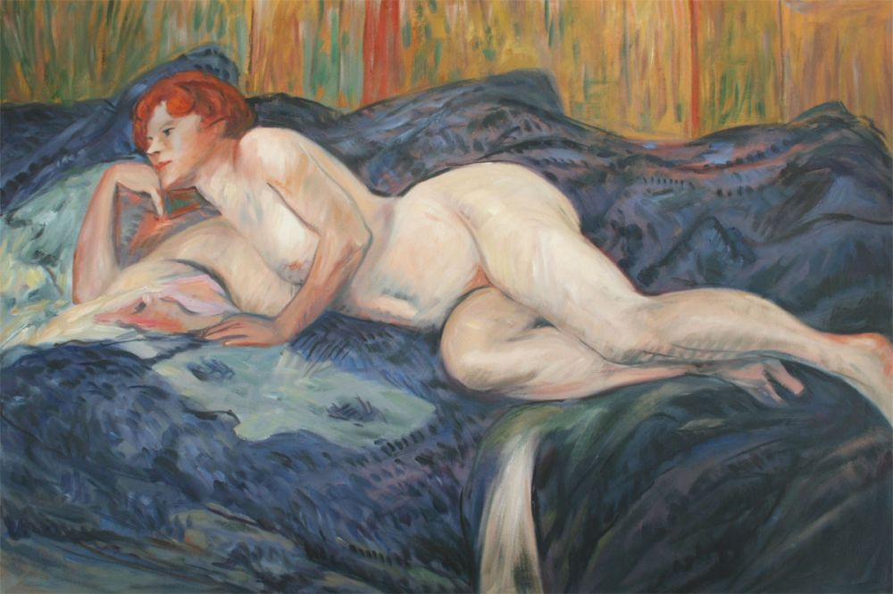 Sexy <font><b>Female</b></font> <font><b>Nude</b></font> Painting <font><b>Reclining</b></font> <font><b>Nude</b></font> by Henri de Toulouse-Lautrec Oil Painting on Canvas Portrait Impressionist Hand Made