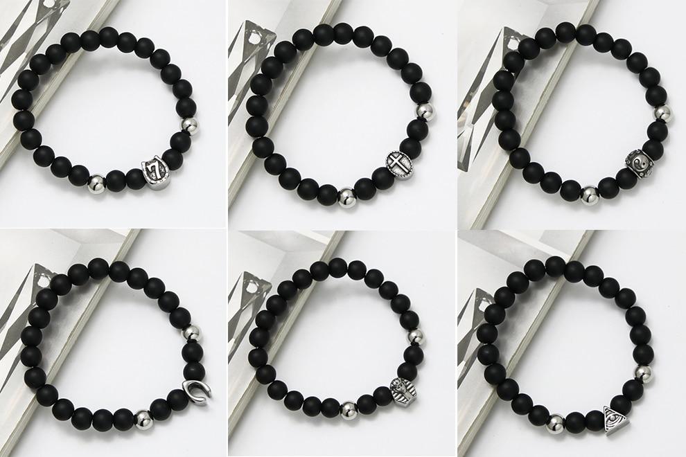 KEORMA Black Stainless Steel Cross Strand Bracelet Man 8mm Natural Stone Beads Bracelets Party Gift Male Jewelry Yoga Bracelets 5
