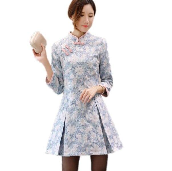 Frühling Neue Blaue Kurze Chinesische Plissee Kleid Mandarin Kragen ...