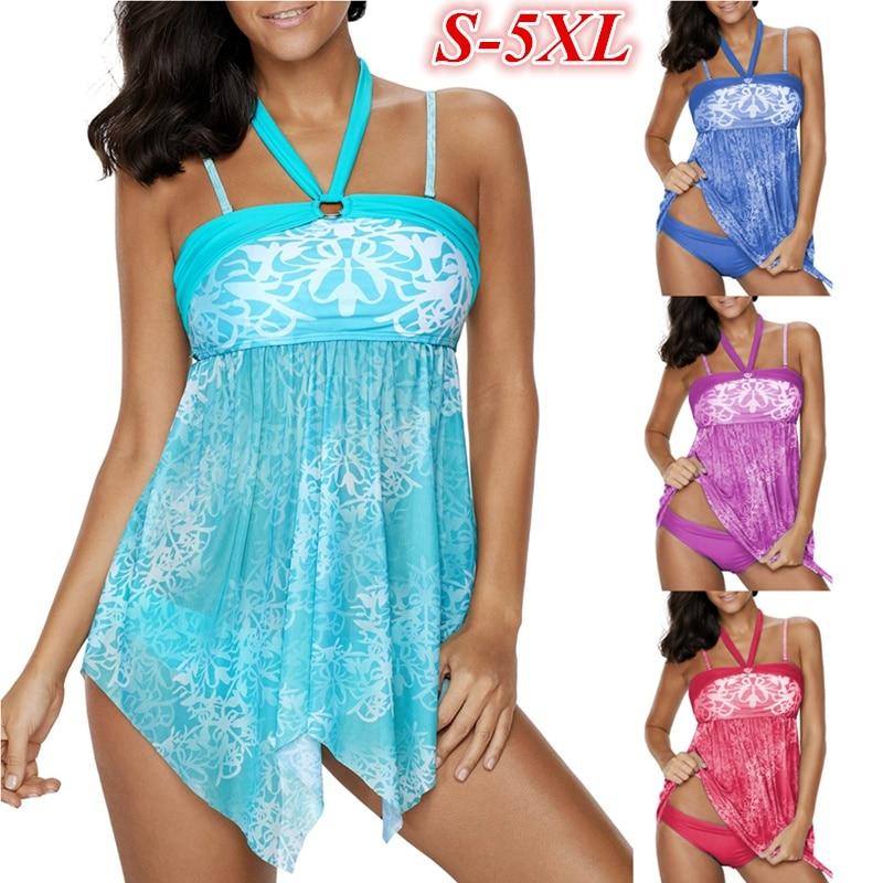 Spaghetti Strap Swimwear Plus Size 5XL Printed Tankini Swimsuit Push Up Padded Halter Bikini Set Bathing Suit Beachwear XXXL lace up halter padded plus size bathing suit