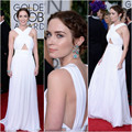 SML1887 2017 Golden Globe Awards Dress Emily Blunt White A line Red Carpet Floor length long celebrity dresses chiffon