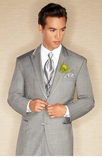 Recién llegado novio esmoquin padrinos de boda gris claro/cena/trajes de noche mejor hombre novio (chaqueta + Pantalones + corbata + chaleco) b99