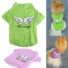 Pure cotton T-shirt, pet clothes, poodle, clothes,the angel wings, clothing.