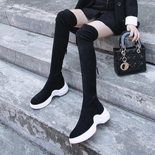 INS Hot Women Over-the-knee Boots Elastic Fabric Long Sheep Suede Cross Zipper Wild Europe and America Fashion Shoes