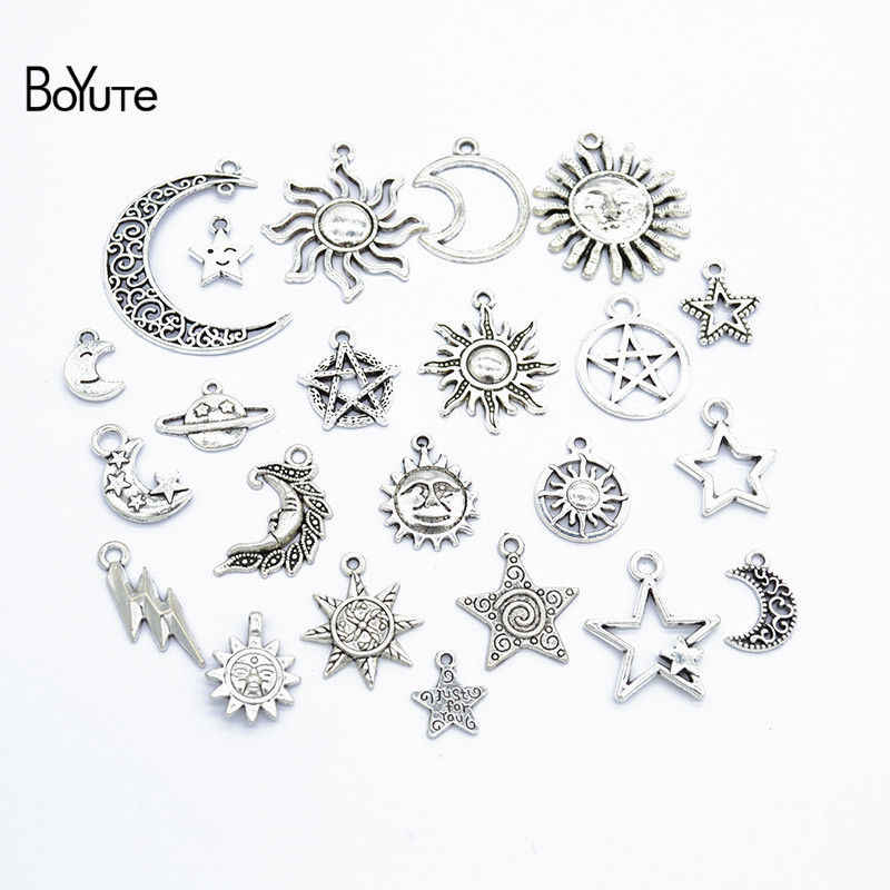 BoYuTe Factory Direct Wholesale Mix 23 Styles Tibetan Silver Star Moon Sun Pendant Charms Diy Alloy Jewelry Accessories