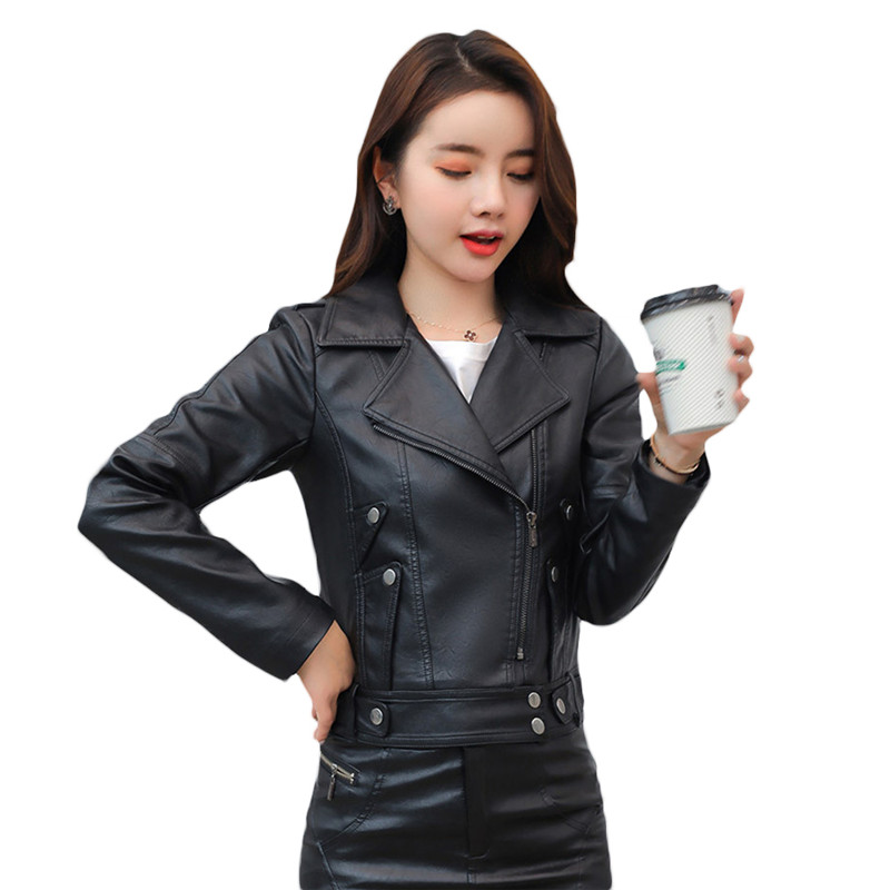 2019 Women's Faux   Leather   Jacket Spring and Autumn Short Motorcycle PU   Leather   Jacket Woman Black Coat Basic Outerwear x906