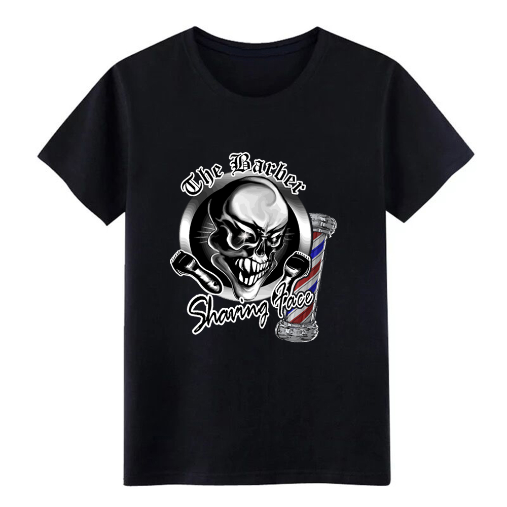 Men's Barber Skull 1 with Pole <font><b>Shaving</b></font> Face t <font><b>shirt</b></font> printed Short Sleeve size S-3xl streetwear Cute New Style Normal <font><b>shirt</b></font> image
