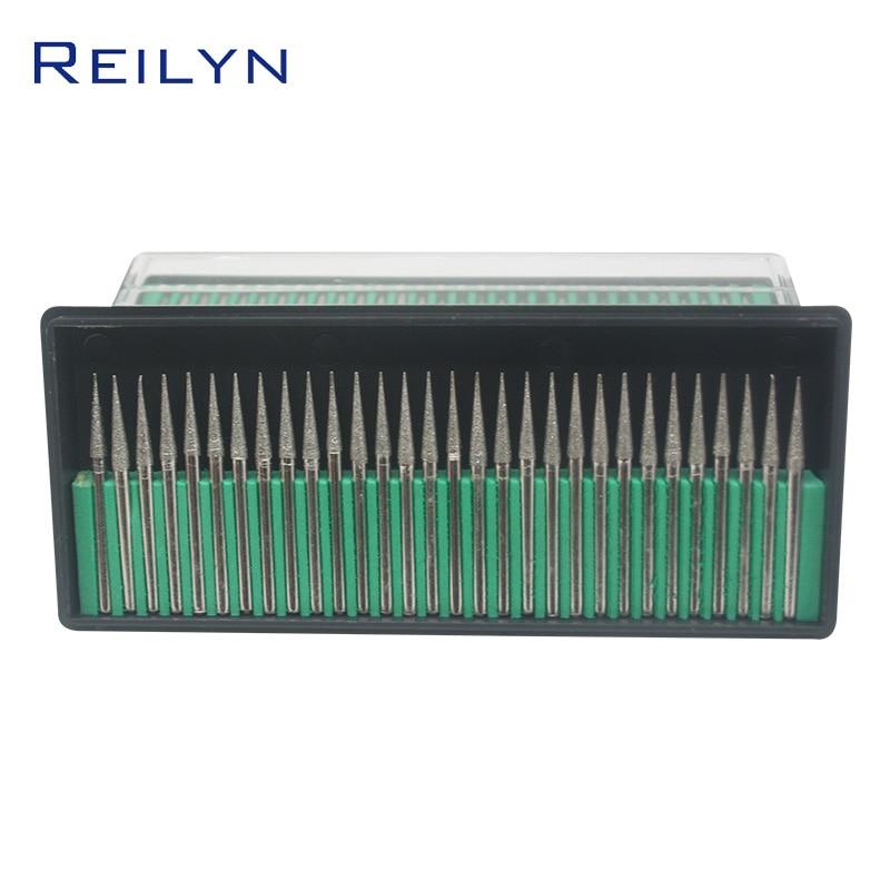 Reilyn 30 Pieces/Set Tool Abrasive Diamond Grinding Head Cone Type 120# 3x3mm Stone Peeling Jade Polishing Grinding Point