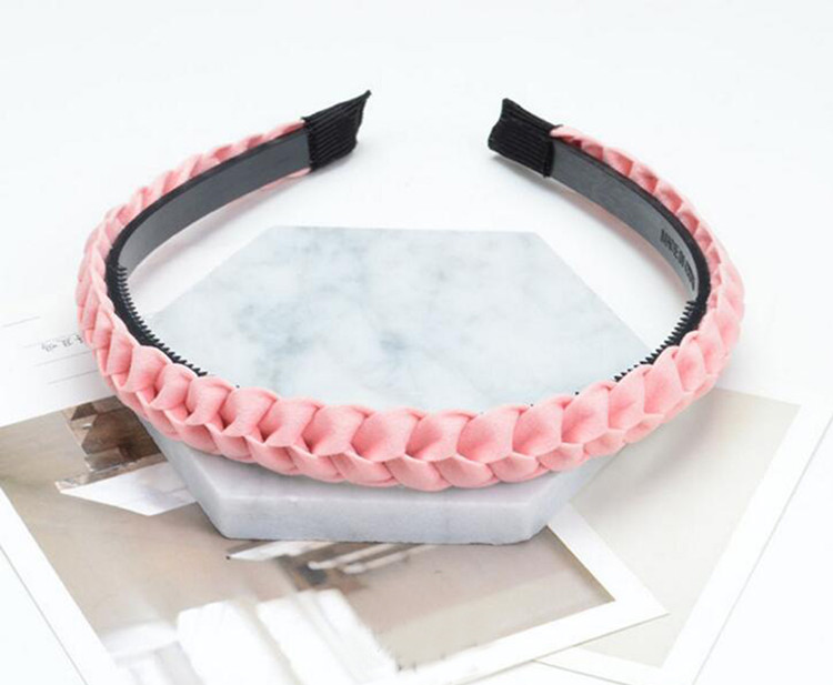 Women Students Handmade Twisted Braided Hairbands Solid Pentagram Dots Print Headbands Korean Style Plastic Turban Multi Colors